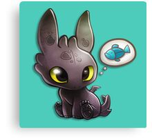 hungry Baby Toothless Dragon Canvas Print