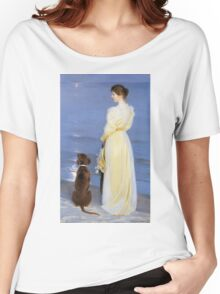 Peder Severin Kroyer - Summer Evening At Oil On Canvas 1892. Woman portrait: sensual woman, Dog, sea, sunset, calm, beautiful dress, anticipation, dream, love, sexy lady, erotic pose Women's Relaxed Fit T-Shirt