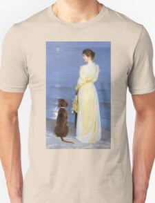 Peder Severin Kroyer - Summer Evening At Oil On Canvas 1892. Woman portrait: sensual woman, Dog, sea, sunset, calm, beautiful dress, anticipation, dream, love, sexy lady, erotic pose Unisex T-Shirt
