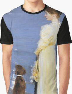 Peder Severin Kroyer - Summer Evening At Oil On Canvas 1892. Woman portrait: sensual woman, Dog, sea, sunset, calm, beautiful dress, anticipation, dream, love, sexy lady, erotic pose Graphic T-Shirt