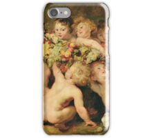 Peter Paul Rubens - Garland Of Fruit. Child portrait:  angel , angels, children, baby,  babes, barefoot , curly head,  grape,  Fruit, childhood, nude iPhone Case/Skin