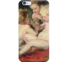 Peter Paul Rubens - Infant Christ With John The Baptist And Two Angels. Child portrait: Christ, angels, wings, baby,  babes, curly head, barefoot , childhood, lamb,  Fruit, nude iPhone Case/Skin