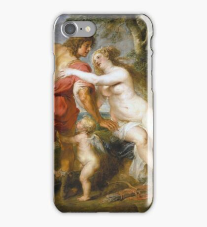 Peter Paul Rubens - Venus And Adonis. Lovers portrait:  seductive goddess, woman and man, Venus,  angel , good liferelations, lovely couple, nude lady, valentine's day, sexy, romance, female and male iPhone Case/Skin