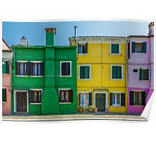 Colorful houses with bicycle Poster