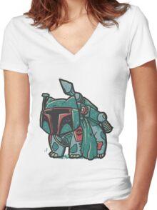 bulbasaur parody Women's Fitted V-Neck T-Shirt
