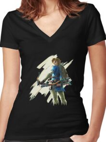 Link zelda breath of the wild Women's Fitted V-Neck T-Shirt