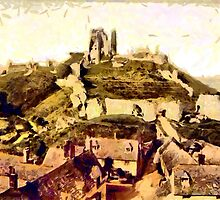 A digital painting of  Corfe Castle, on the Isle of Purbeck, England built  11th century by Dennis Melling