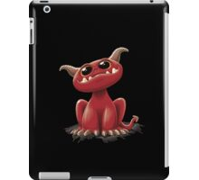 Cute red monster - on black iPad Case/Skin