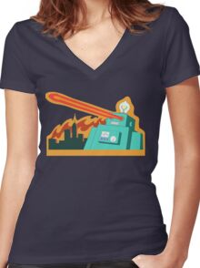 Giant robot... just another monday Women's Fitted V-Neck T-Shirt