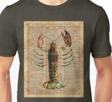 Lobster Crustacean Mediterranean Sealife Vintage Dictionary Art Collage Unisex T-Shirt