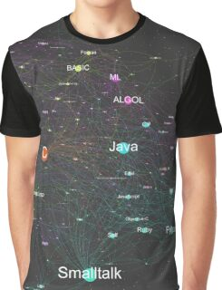 Network Graph of Programming Language Influence 2013 - Dark Background Graphic T-Shirt