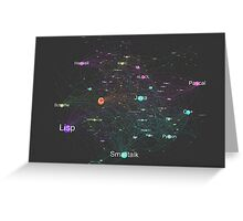 Network Graph of Programming Language Influence 2013 - Dark Background Greeting Card