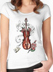 Violin with Notes 2 Women's Fitted Scoop T-Shirt