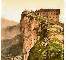 A digital painting of Hotel Schafberg, Upper Austria, Austro-Hungarian Empire 19th century. by Dennis Melling