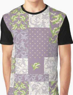 Lily-of-the-Valley Faux Patchwork Mauve Graphic T-Shirt
