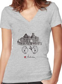Hedgehogs in Amsterdam Women's Fitted V-Neck T-Shirt