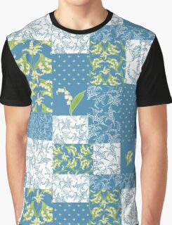 Lily-of-the-Valley Faux Patchwork Blue Graphic T-Shirt