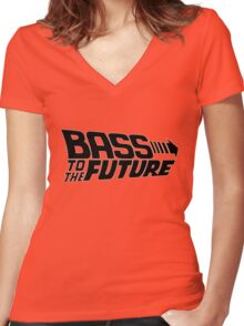 Bass to the Future (black) Women's Fitted V-Neck T-Shirt
