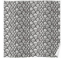 Black and white scale ornamental pattern Poster