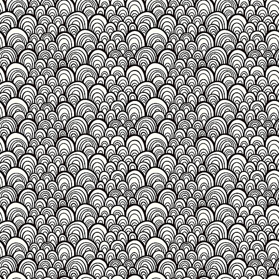 Black and white scale ornamental pattern by IreneArt