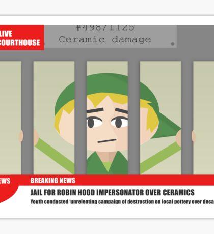 Link jailed for pottery damage (TV newsflash) Sticker