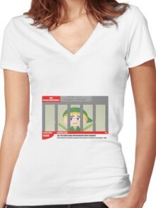 Link jailed for pottery damage (TV newsflash) Women's Fitted V-Neck T-Shirt