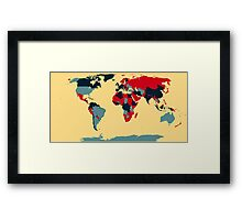 Colored World Map Framed Print