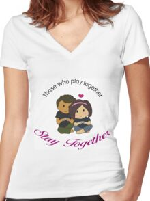 Gamer Couple Women's Fitted V-Neck T-Shirt