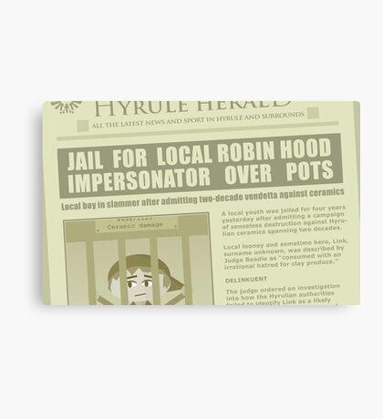 Zelda newspaper: Link jailed! Canvas Print