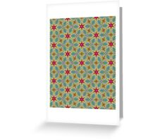 Pink Stars with Yellow Flowers Pattern Greeting Card