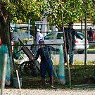 Mending the nets, San Feliciano, Lago Trasimeno, Umbria by Andrew Jones