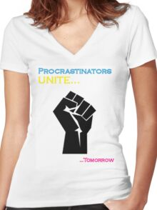 Procrastinators Unite Women's Fitted V-Neck T-Shirt
