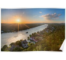 Austin Texas Images - Late May Sunset over Mount Bonnell 1 Poster