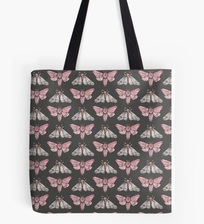 Moth pattern on dark grey Tote Bag