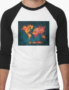 world map art series Men's Baseball ¾ T-Shirt