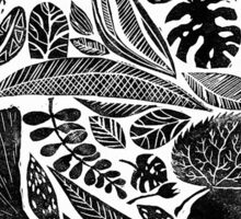 Lino cut printed pattern, nature inspired, handmade, black and white Sticker