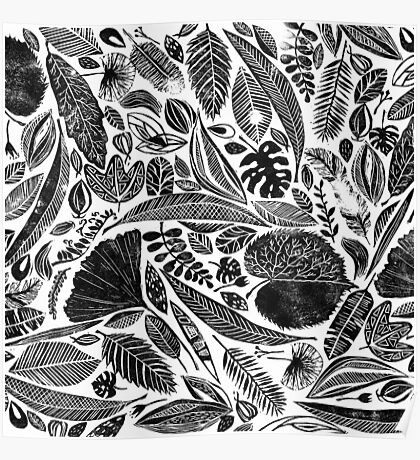 Mixed leaves, Lino cut printed nature inspired hand printed pattern Poster