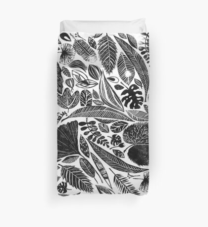 Mixed leaves, Lino cut printed nature inspired hand printed pattern Duvet Cover