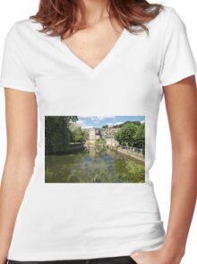 Abbey Mill, Bradford on Avon, Wiltshire, United Kingdom. Women's Fitted V-Neck T-Shirt