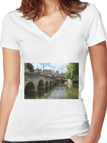 The Town Bridge, Bradford on Avon, Wiltshire, United Kingdom. Women's Fitted V-Neck T-Shirt