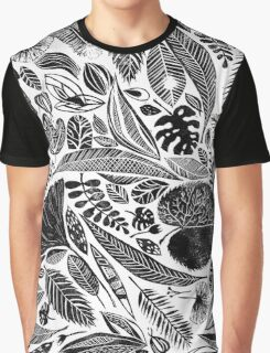 Lino cut printed pattern, nature inspired, handmade, black and white Graphic T-Shirt