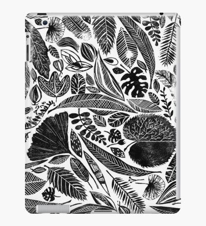 Mixed leaves, Lino cut printed nature inspired hand printed pattern iPad Case/Skin
