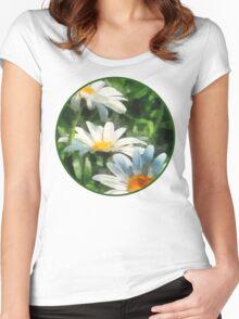 Gardens - Three White Daisies Women's Fitted Scoop T-Shirt