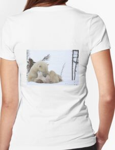 Polar bears: Mom & cubs Womens Fitted T-Shirt