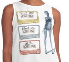 Tape Cassette Music Fashion Vintage Tape Girl legs Colorful Metal Punk Electronic Contrast Tank