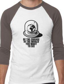 World Snow Globe - Gandhi Philosophy Men's Baseball ¾ T-Shirt