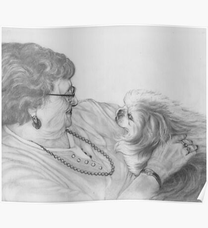 Old Friends, graphite drawing Poster