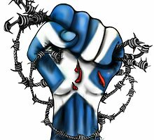Scotland Yes Independence Fist Cushion by Sookiesooker