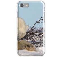 Polar bear cubs playing with mom iPhone Case/Skin