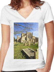 Edington Priory Church, Wiltshire, UK Women's Fitted V-Neck T-Shirt